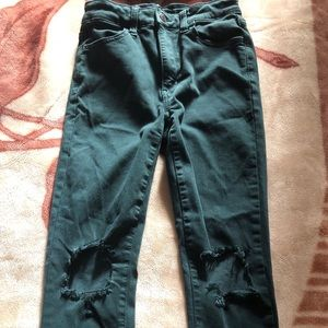 Teal Ripped Jeggings American Eagle